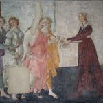 50 Ботичелли. Джованна Альбицци с Венерой и грациями, фреска, 1483-86. Лувр