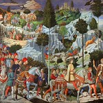55 Беноццо Гоццоли Шествие волхвов 1459-61. Фреска домовой капеллы Медичи