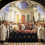 56 Доменико Гирлондайо. Похороны св.Фины, фреска, 1473-75 Собор Успения, Сан-Джиминьяно