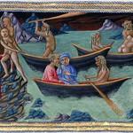 80b Приамо делла Кверча. Данте и Вергилий, переплывающие реку Ахерон в лодке Харона