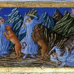 80a Приамо делла Кверча. Илл. Божественной комедии 1444-50 Сиена. Атака леопарда (рыси), льва и волчицы. Встреча с Вергилием