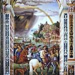 92g Пинтуриккио. Енеа Пикколомини уезжает на собор в Базеле. Роспись стен библиотеки