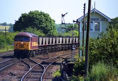 56067 swings past Barnetby East box with a mgr coal train seen on 15-7-03. Copyright Ian Cuthbertson (I C railway photo's) Tags: class56 grid 56067 ews barnetby mgr coaltrain