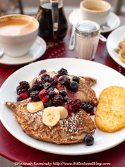 Timeless - Pancakes w. Berry Compote (Bitter-Sweet-) Tags: vegan food drink oakland eastbay berkeley peidmont coffee cafe breakfast brunch timeless dairyfree meatless restaurant pancakes compote berries
