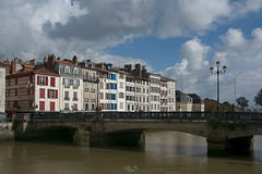 Bridge over the Adour in Bayonne (Gilles B. Photographe) Tags: ancient france sunny bayonne color window street water city aquitaine red basque summer panoramic oldtown architecture traditional view european white houses landscape sky basquecountry old landmark baiona buildings cityscape french building town clouds urban sun blue country bridge europe travel facade house adour colors historical center tourism river colorful