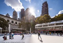Bryant Park Ice Skating (20191103-DSC08278-Edit) (Michael.Lee.Pics.NYC) Tags: newyork bryantpark iceskating rink wintervillage architecture cityscape shiftlens sony a7rm4 laowa12mmf28 magicshiftconverter