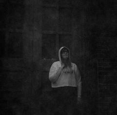 Dani on expired Kodak Ektachrome (amb.sor) Tags: city photography woman blackandwhite 120film mediumformat film portrait downtown