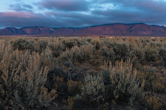Alpenglow with low clouds. (M///S///H) Tags: 35mm alpenglow fullframe landofenchantment landscape lowclouds mirrorless newmexcio newmexicotrue outside pointandshoot rx1rii sagebursh sony sunset taos