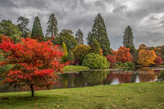 Autumn blast (fotosforfun2) Tags: sheffieldpark garden autumn seasons colour color green red orange landscape england uk trees ukfield sussex lake pond water still reflection yellow conifer sky cloud