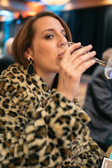 Kelly, with champagne (M///S///H) Tags: 2019 albuquerque awards coworkers fullframe gala hotelstaff newmexicohospitalityassociation november2019 pointandshoot rx1rii snapshots sony