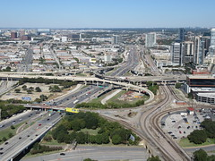 I-35E (TheTransitCamera) Tags: dallas downtown reuniontower observation observatory deck view visit vacation travel city texas road freeway highway interstate drive car web concrete structure