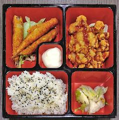 Shishamo (fried breaded shrimps) with Chicken Cutlet Bento (Nikita Hengbok) Tags: food cuisine meal japanesecuisine japanesefood sashimiandsushi