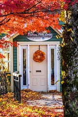 Autumn in Bowring Park (Karen_Chappell) Tags: bowringpark park autumn fall tree leaves orange green red wreath door house lodge sunny nfld newfoundland canada stjohns scenery scenic nature white wood wooden trim paint painted colour color colours colourful path railing maple trees leaf yellow atlanticcanada avalonpeninsula canonef24105mmf4lisusm november window