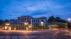 Frankfurt Zoo blaue Stunde (markusgeisse) Tags: frankfurt blaue stunde blau blue railway strasenbahn lichtspuren zoo geselschaftshaus wolken sky coups lights lichter morgen city stadt schienen sony alpha langzeitbelichtung longtermexposure