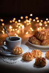 Coconut biscuits (Giovanni Contarelli) Tags: biscotti caffè tazzina food gourmet heattemperature cup breakfast table dessert snack freshness plate meal pastry coffeedrink drink cake closeup brown refreshment sweetfood morning everypixel lightpainting bokeh christmas