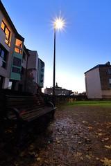 Le spectre du Jaglolay... (Tonton Gilles) Tags: alençon normandie heure bleue crépuscule réverbère lampadaire étoilé rayons hôtel de ville banc public fantôme spectre pose longue mise en scène square du jaglolay transparent transparence paysage urbain