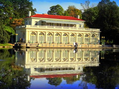 Boathouse (dimaruss34) Tags: newyork brooklyn dmitriyfomenko image sky clouds trees prospectpark autumn fall foliage lake lullwater boathouse reflections