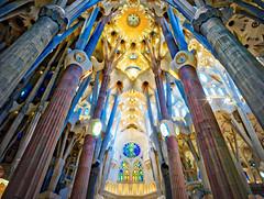 Gaudi (Trey Ratcliff) Tags: barcelona spain stuckincustomscom treyratcliff cathedral la sagrada familia basilica architecture interior hdr aurorahdr