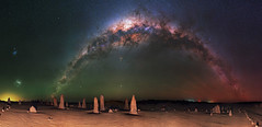 Milky Way & Magellanic Clouds at The Pinnacles Desert, Western Australia (inefekt69) Tags: thepinnaclesdesert pinnacles desert nambung national park panorama stitched mosaic ms ice milky way cosmology southern hemisphere cosmos westernaustralia australia dslr long exposure rural night photography nikon stars astronomy space galaxy astrophotography outdoor milkyway core great rift ancient sky 50mm d5500 airglow landscape nikkor prime lens ioptron skytracker tracked hoya red intensifier filter carina magellanic clouds lmc smc nebula north america