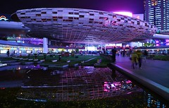 Shanghai - Wujiaochang (cnmark) Tags: china shanghai yangpu district wujiaochang futuristic square plaza space light night nacht nachtaufnahme noche nuit notte noite reflection reflections 中国 上海 杨浦区 五角场 ©allrightsreserved