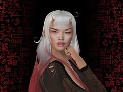 woo woo (Tympany) Tags: letre coco evermore shojomanga bonbon genus asian bus zombieeyes kaori horns fleshhorns wrh roughnight demon smirk lelutkaaxis grin curl ombre whitehair