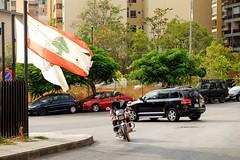 BEIRUT - FLAG (Maikel L.) Tags: asia westasia asien middleeast naherosten lebanon liban libanon beirut beyrouth flag flagge lebaneseflag street motorbike motorrad capital hauptstadt لبنان بيروت traffic verkehr fahne