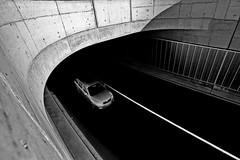 blocking line (heinzkren) Tags: schwarzweis blackandwhite biancoetnero noiretblanc monochrome street streetphotography verkehr conkrete beton strase sperrlinie guideline cat auto tunnel traffic panasonic lumix