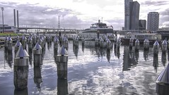 Post Reflections (Mr.LeeCP) Tags: reflections buildings clouds water dock melbourne australia bridge boat blue