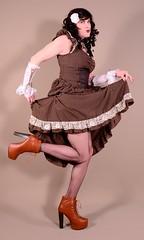 118H5L (klarissakrass) Tags: costume heels platformheels jeffreycampbell transgender sexylegs fishnets crossdress crossplay xdress booties gloves steampunk travestite pinup pinuppose posesession