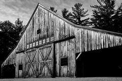 Russell-Colbath barn (FotoFloridian) Tags: abandoned architecture architectureandbuildings blackandwhite buildingexterior builtstructure history newhampshire nopeople obsolete old oldfashioned outdoors retrostyled rundown ruralscene sony weathered whitemountains woodmaterial a6400 alpha barn