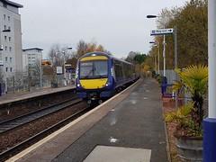 Abellio Scotrail Class 170 170410 arriving at Summerston Station Platform 1 on service 2W74 (09-11-19) (Rikki Cameron) Tags: trains abellio scotrail scotrailsaltireblue class170 1704 turbostar 170410 bombardier anniesland glasgowqueenstreet localstoppingservice 2w74