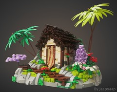 The Hunter's Hut (jaapxaap) Tags: lego moc by jaapxaap afol fantasy adventure adventures hunter hut jungle forest house shack green flowers nature vignweek