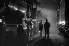 All is quiet in the 'shed'. (photofitzp) Tags: 2999 bw blackandwhite didcotrailwaycentre gwr ladyoflegend preservation railways reenactors silhouette smoke steam timelineevents heritage