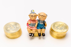 Senior Couple invests in their future sitting on cash reserves (verchmarco) Tags: rentner freedom deby money opa vorsorge bitcoin vermögen oma geld 401k sparen pensioner savings pension ersparnisse wealth reichtum currency währung noperson keineperson isolated isoliert stacks stapel achievement leistung luck glück little wenig conceptual konzeptionelle business geschäft precious wertvoll toy spielzeug finance finanzen traditional traditionell miniature miniatur value wert bank artsandcrafts kunstundhandwerk 2019 2020 2021 2022 2023 2024 2025
