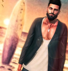 [ 📷 - 160 ] (insociable.sl) Tags: board magnificient navajo etham ocean sea surfer hipster beard beach sunrise sunset surfing surf boy man male model edit sl secondlife