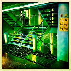 Green Glow (Julie (thanks for 9 million views)) Tags: smileonsaturday letitglow hsfs saturdayforstairs green glow squareformat hipstamaticapp colourful mvpontaven ferry steps 100xthe2019edition 100x2019 image94100 hss sliderssunday