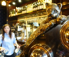 Golden cat at The Market Cat bar in York (Tony Worrall) Tags: pub inn bar boozer york sculpture cat pump woman catty animal gilt shiny drink inside quirky fun made feline yorkshire north update place location uk england visit area attraction open stream tour photohour photooftheday pics country item greatbritain britain english british gb capture buy stock sell sale outside outdoors caught photo shoot shot picture captured ilobsterit instragram themarketcat