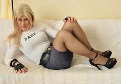 shoes off the sofa Nina! (Miss Nina Jay) Tags: tights heels