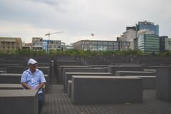 During the anti-fascist demo. Berlin Holocaust memorial, May 2018. (joelschalit) Tags: berlin germany deutschland europe eu photojournalism journalism streetphotography street wwii coldwar fascism antifascism nazis pentax holocaust shoah jews afd genocide