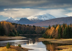 Glen Spean (jasty78) Tags: riverspean speanbridge bennevis lochaber highlands river moutains water tree trees autumn fall winter snow colours red orange brown reflection clouds landscape scotland nikon d810 nikond810 70200mm 135mm nikkor70200mm nikkor70200mmf28 lochlaggan lochlagganreservoir loch lake reservoir glenspean