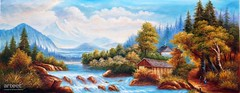 Cascade by the Wooden Cabins, Art Painting / Oil Painting For Sale - Arteet™ (arteetgallery) Tags: arteet oil paintings canvas art artwork fine arts water sky landscape turquoise travel tree summer vacation tourism sunny mountain scenery horizon cloud scenic reflection idyllic clouds outdoor river scene paradise relaxation sun forest tranquil waterfall clear relax rock trees wave sunlight outdoors cascade landscapes surreal fantasy lakes rivers cyan lime paint