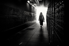 lady of light (Daz Smith) Tags: dazsmith fujifilmxt3 xt3 fuji bath city streetphotography people candid portrait citylife thecity urban streets uk monochrome blancoynegro blackandwhite mono lady light tunnel silhouette