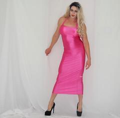 I LOVE pink (queen.catch) Tags: dragqueen crossdresser catchqueenyoutube pink promdress spandex heels nylons ladyboy tranny makeup wig femboi strikeapose