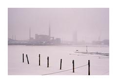 Helsinki 2 (analog surfing) Tags: helsinki finnland winter frozen sea fabric industry cold cloudy foggy harbour film35mm analog nikon fm2 scan kodak portra 400 moody