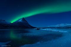 The green mile (raymond.riise) Tags: snow ice mountain lake polarnight arctic aurora auroraborealis