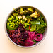Fresh Eden Bowl with sugar peas, Edamame, spinach salad, roasted broccoli, rucola, pickled onions, sesame raw