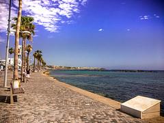 Paphos Marina (Bluebullet1) Tags: sea landscape blue outside city water colour clouds light sky