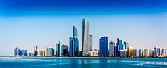 Abu Dhabi Corniche from Flag Point (Bluebullet1) Tags: sunset landscape city water sun sky light outside buildings sea blue colour architecture design outdoor