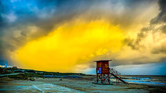 Dramatic Sunset at Lighthouse Beach, Paphos (Bluebullet1) Tags: sea landscape blue outside city water colour clouds light sky beach sun outdoors