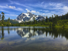 Picture This (RobertCross1 (off and on)) Tags: deming mountbaker mountshuksan nationalforest northcascades pacificnorthwest picturelake wa washington apple bluesky clouds forest glacier iphone iphone6 iphoneography lake landscape mountains reflection snow trees water whatcom